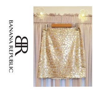 BR Monogram Collection Gold Sequin Skirt